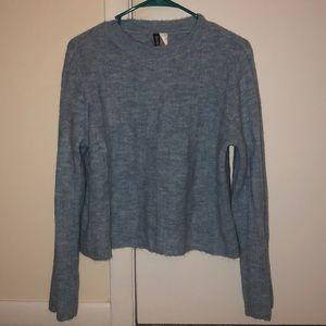 H&M Fuzzy Blue Crop Sweater
